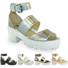 NEW LADIES WOMENS CHUNKY PLATFORM SANDALS BLOCK HEEL WEDGES SHOES SIZE