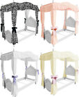 FC38 GIRLS TWIN SIZE PRINCESS BED DRAPE CANOPY CURTAINS FABRIC TOP COVER RUFFLED