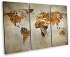 Map of the World Canvas Wall Art Picture Multi 3 Panel Split