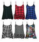 New Womens Sleeveless Swing Vest Check Tartan Dog Tooth Ladies Cami Flared Top