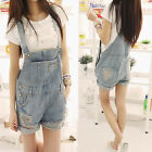 Fashion Women Playsuits Casual Denim Washed Short With Hole Jumpsuits WWKB009