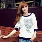 New Womans  Spring & Autumn Owl Pattern O-neck Half Sleeve Casual Shirt  WTS158