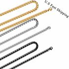 """New 5MM Men's Gold/Black/Silver Stainless Steel Box Chain Necklace 16""""~34"""""""