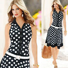 Plus Size Vintage Office Lady Pinup Polka Dots Rockabilly Slim Fit Short Dresses