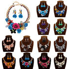 2015 Hot Gold Chain Crystal Flower Bib Statement Chunky Necklace Earring Set 10M