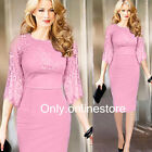 Elegant Womens Lace Long Sleeve Cocktail Evening Party Bodycon Pencil Midi Dress