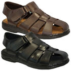 Mens Fisherman Soft Leather Hook and Loop Sandal For Summer Wear NEW