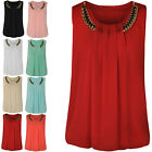 LADIES WOMENS LOOSE CASUAL CHIFFON SLEEVELESS VEST SHIRT TOPS BLOUSE SIZE