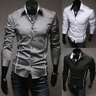 Men's Fashion Button-Front Long Sleeve Casual Slim Fit Stylish Dress Shirts LJ