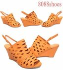 Women's Causal Summer Tan Slingback Caged Open Toe Wedge Sandal Shoes Size 6-10