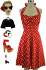 50s Inspired WARM RED with White POLKA DOTS Pinup Betty HALTER TOP Sun Dress