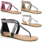 Ladies Flat Sandals Womens Girls Summer Gladiator Fancy Beach Wedding Shoes Size