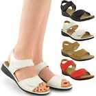 LADIES WOMENS VELCRO COMFORT WIDE CASUAL WALKING FLAT SUMMER SANDALS SIZE