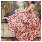 Women Sleeveless Chiffon Dress Summer Floral Printed Bohemian Long Beach Dress