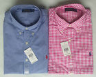 Mens Ralph Lauren Polo Custom Fit Gingham Check Poplin Shirt - Pink, Blue
