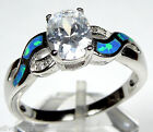 Cubic Zirconia & Blue Fire Opal Inlay 925 Sterling Silver Ring size 6-9