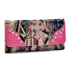Camouflage Purse Western Style Trifold Wallet with Checkbook Rhinestone Cross