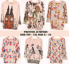 New Womens Casual Big Ben Disney Oversize Jumper Long Sleeve Loose Fit Top 8-16