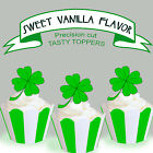 LUCKY Four Leaf Clover EDIBLE Vanilla wafer Cupcake Cake Toppers PRECUT cup cake