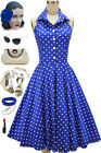 50s Style DOO WOP DARLING Blue with White POLKA DOTS Pinup HALTER Sun Dress