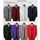 Men's Suits Three Button Poly Poplin Solid Suit With Collared Vest UF905V