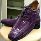 Men's High Quality Fashion Dress Shoes Embossed Purple & Cream Size 8.5~13