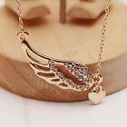Fashion Women New Charm Jewelry Angel Wings Love Heart Pendant Chain Necklace