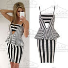 Womens Stripe Print Celeb Monochrome Strappy Party Cut Out Peplum Mini Dress
