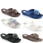 LADIES WOMENS WEDGE TOE POST FLIP FLOP FLOWER SANDAL, BEACH OR CASUAL WEAR DANI