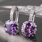 Luxury 18K white gold filled Purple Swarovski crystal PARTY hoop earring