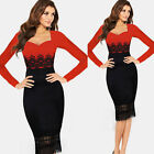 Evening Cocktail Party Lace Long Sleeve Bodycon Pencil Women Ladies Dress