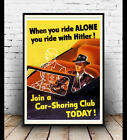 Join a car share club, Vintage WW2 Information advertising poster reproduction.