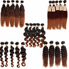 Hot Brazilian Human Hair Body/Deep/Natural/Curly Wave/Straight Ombre 3TONE Hair