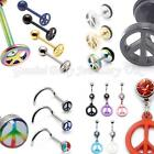 Peace sign Body jewellery Tongue | Belly | Nose | Fake Ear stretchers Titanium S