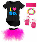 I LOVE THE 80s Ladies Outfit - Fancy Dress Costume Neon Drop Tail Tutu 80's
