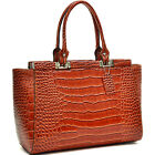 Dasein Patent Leather Handbdg Crocodile Shoulder Bag Women Mini Tote Bag