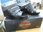 Harley Davidson Womens Leather Platform Shoe Sandal Wedge Medium Black Kirsty