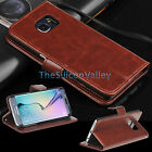 Luxury PU Leather Flip Folio Stand wallet Case Cover For Samsung Galaxy S6 Edge