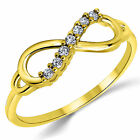 14K Solid Yellow Gold CZ Cubic Zirconia Infinity Ring Band