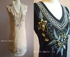 Deco Gatsby 1920s Style Vintage Flapper Floral Embroidery Gold Charleston Dress