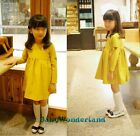 Girls Yellow Cotton Long Sleeves Leather Patch Dress Outfit Clothes Size 2-8Y