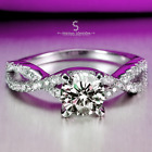 925 Pure Sterling Silver Infinity Solitaire Engagement Wedding Ring with Accent