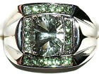 Men's Concave Cut Green Amethyst & Peridot Stainless Steel Topaz Ring  **R5