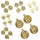 20/100x Retro Antique Gold Patterns Round Charms Zinc Alloy Pendants Findings L