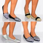 WOMENS GLITTER DIAMANTE BOW POINTED FLAT BALLET PUMPS LOAFERS SHOES SIZE