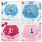 Baby Girls Frozen Elsa Anna 4 Pcs Dress Party Set Tutu legging shoes Size 0-1Y