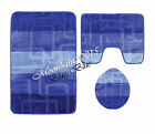 NEW LUXURY 3 PIECE LARGE BATH MAT & PADESTAL MAT SET NON SLIP IN MULTI COLOURS