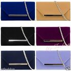 NEW SUEDE VELVET LADIES PARTY PROM WEDDING EVENING CLUTCH HAND BAG PURSE