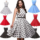Boat Neck Vintage Style Swing 1950s Retro Pinup Rockabilly Party Evening Dresses