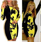Womens Contrast Mini Dress Celebrity Beyonce Bodycon Party Floral Long Sleeve